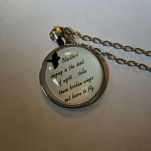 Beatles inspired silver necklace, Blackbird lyrics